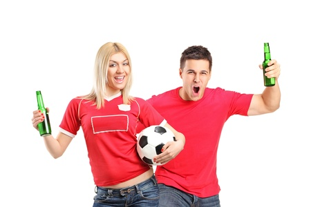 admirer: Male and female euphoric fans holding beer bottles and football cheering isolated on white background