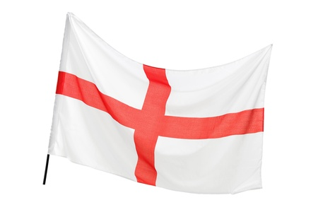 england flag: A studio shot of a flag of England waving isolated on white background