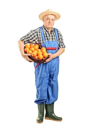 agricultor: Retrato de cuerpo entero de un granjero con una cesta llena de naranjas aislados sobre fondo blanco Foto de archivo