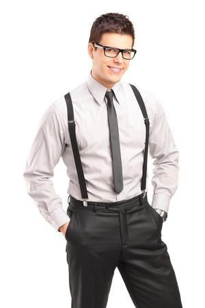Portrait of a stylish smiling man posing isolated on white background Stock Photo