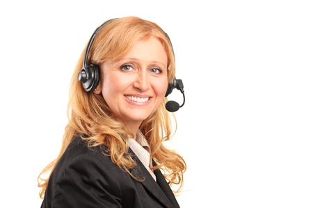 A smiling female customer service operator with a headset isolated against white background photo