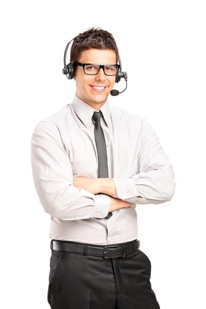 A male customer service operator wearing a headset isolated on white background photo