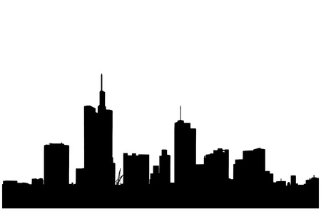 frankfurt: A silhouette of a buildings in the financial centre in Frankfurt, Germany Illustration