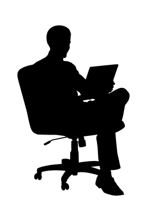 A silhouette of a businessman sitting in office chair and working on laptop computer isolated on white background