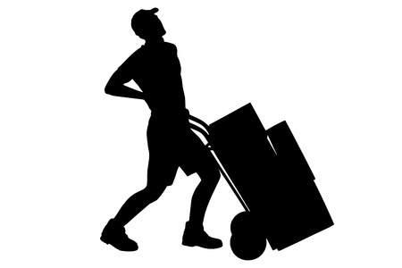 dorsalgia: A silhouette of a full length portrait of a delivery boy, suffering from a back pain, pushing a hand truck isolated on white background Stock Photo