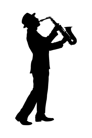 A silhouette of a full length portrait of a man in a suit playing on saxophone isolated against background photo