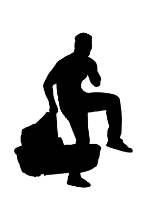 A silhouette of a robber holding a carrycot isolated on white background photo