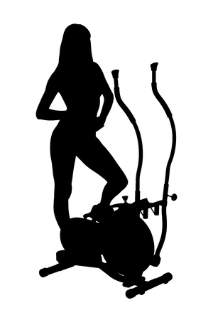 A silhouette of a woman posing on a cross trainer machine isolated on white background photo