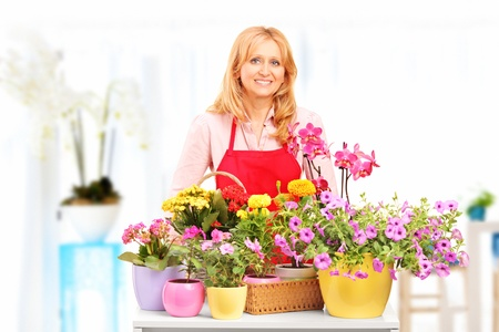 horticulturist: Female horticulturist standing with flower pots