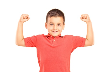 flex: Strong boy showing muscles, isolated on white background