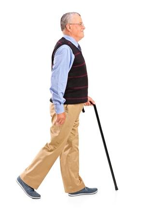 수석 남자의 전체 길이 초상화는 흰색 배경에 고립 지팡이와 함께 산책