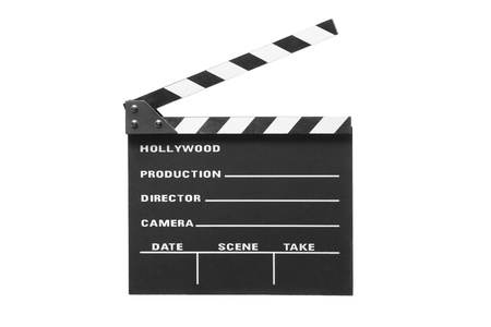 A studio shot of an open movie clap isolated against white background photo