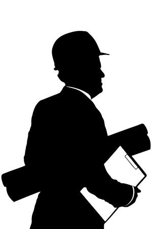 arquitecto: Una silueta de un trabajador de la construcci�n con planos de sujeci�n del casco aislados en fondo blanco