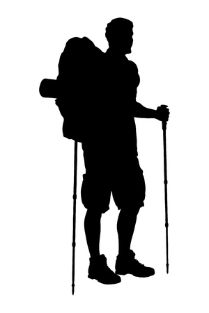 A silhouette of a full length portrait of a hiker with backpack holding hiking poles isolated on white background Vector