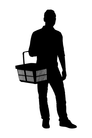 full length portrait: A silhouette of a full length portrait of a man holding an empty shopping basket isolated on white background