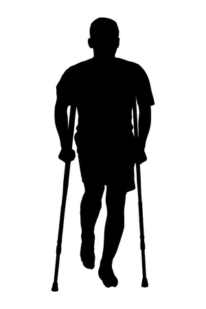 injured person: A silhouette of a full length portrait of an injured man on crutches isolated against white background