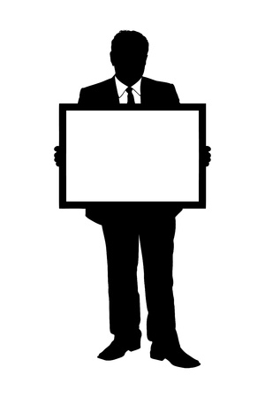 blank board: A silhouette of a full length portrait of a mature man holding a white panel isolated on white background Illustration