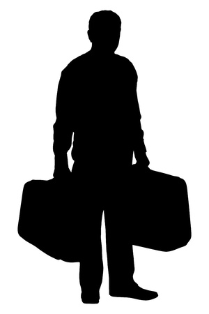 tourist: A silhouette of a full length portrait of a mature man holding suitcases isolated on white background