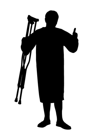 A silhouette of a full length portrait of a senior patient holding crutches and giving thumb up isolated on white background