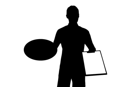 A silhouette of a delivery boy with clipboard delivering a pizza isolated on white background Vector