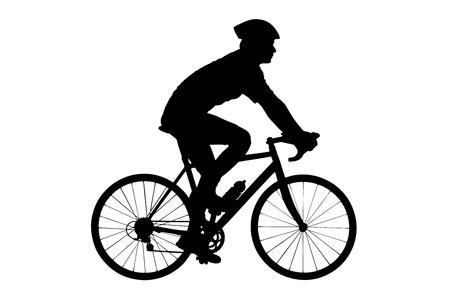 cyclist: Een silhouet van een mannelijke fietser met helm fietsen geïsoleerd tegen witte achtergrond