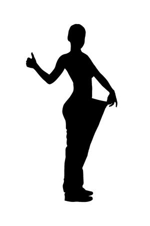 Une silhouette d'un portrait en pied d'une femme perte de poids donnant un pouce vers le haut isolé sur fond blanc