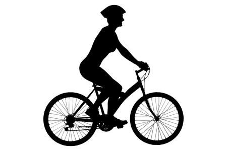 cyclist: Een silhouet van een vrouwelijke fietser met helm zittend op een fiets geïsoleerd tegen een witte achtergrond