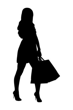 Una silueta de un retrato de cuerpo entero de una mujer posando con bolsas de la compra aislados sobre fondo blanco Ilustración de vector