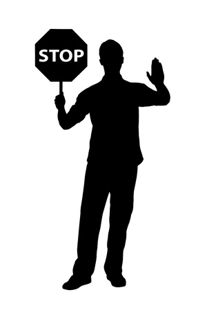 halt: A silhouette of a full length portrait of a man gesturing and holding a traffic sign stop isolated on white background