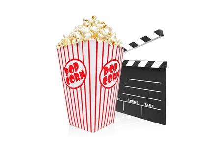 palomitas: Un estudio de disparo de un aplauso y la caja de palomitas de cine aisladas sobre fondo blanco