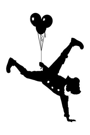 acrobat: An illustration of a clown holding balloons and standing on one hand isolated on white background