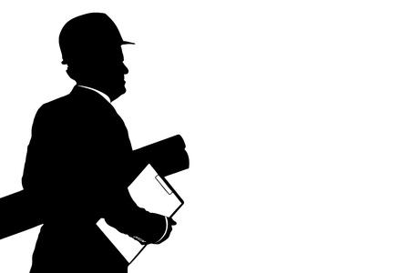 supervisores: Un ejemplo de un trabajador de la construcci�n con el plan del casco celebraci�n aisladas sobre fondo blanco Foto de archivo