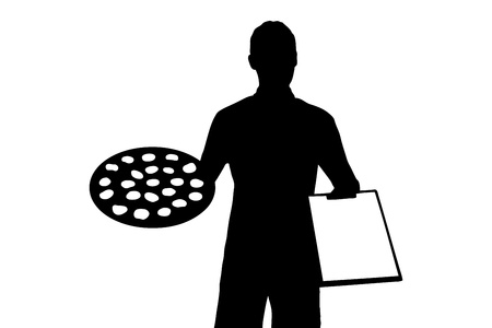 An illustration of a delivery boy with clipboard delivering a pepperoni pizza isolated on white background Stock Illustration - 14699467