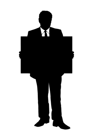 An illustration of a full length portrait of a man holding a panel isolated on white background illustration