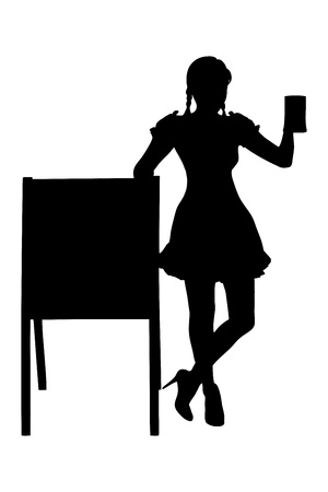 Silhouette of a bavarian woman holding a pint of beer next to a wooden board isolated on white background photo