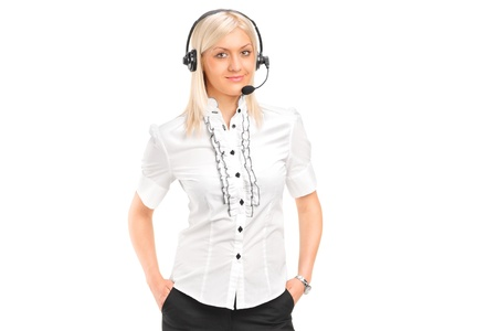 telephonist: A female customer service operator with headphones and microphone isolated against white background
