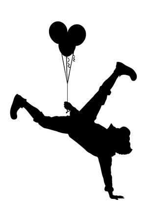 acrobat: Illustration of a clown holding balloons and standing on one hand isolated on white background Stock Photo