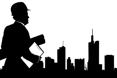 Silhouette of male engineer looking at buildings in the financial centre in Frankfurt, Germany photo