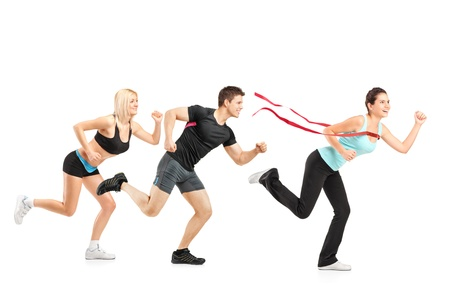 sportswear: People running towards finish line isolated on white background