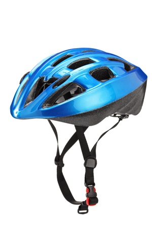 safety helmet: Blue helmet for byciclists isolated on white background