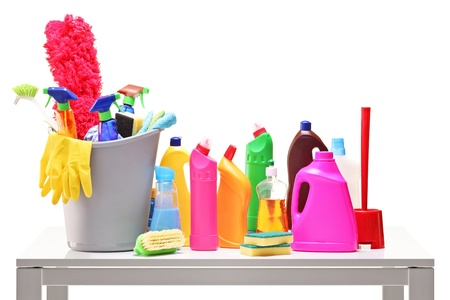 household objects equipment: Bucket and cleaning supplies on a table isolated on white background