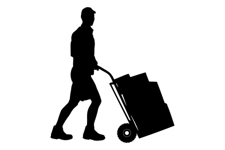 hand truck: Silhouette of a delivery man pushing a cart with boxes isolated on white background