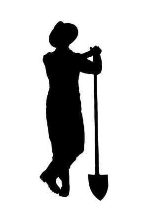 Silhouette of a male farmer holding a shovel isolated on white background