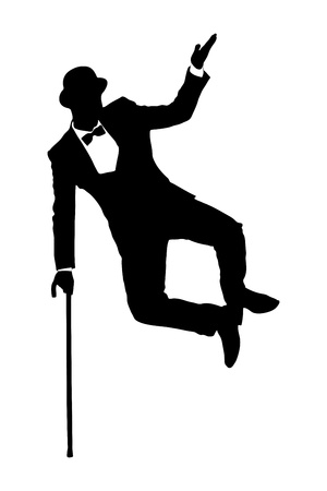 theater man: Silhouette of a man in suit holding a cane and dancing isolated on white background