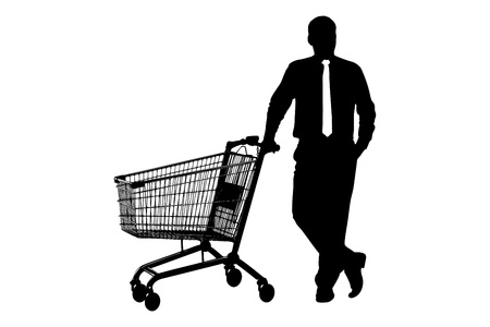 full shopping cart: Silhouette of man with empty pushcart isolated on white background Stock Photo