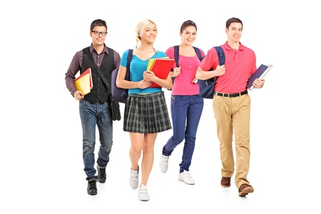 Full length portrait of male and female students isolated on white background photo