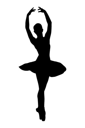 ballet shoes: A silhouette of a ballerina dancer making a ballet posing against white background
