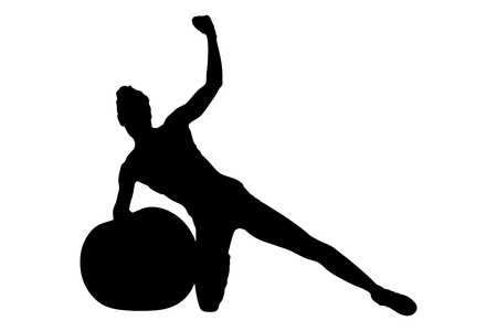 flexing muscles: A silhouette of a female working out with a dumbbells isolated on white background