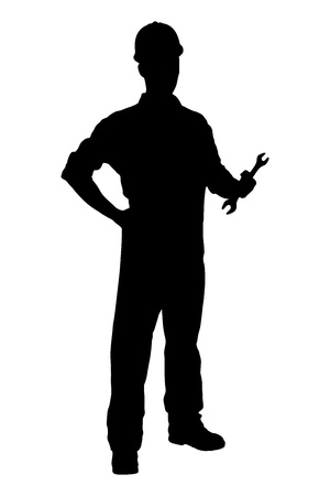 A silhouette of a confident and smiling handyman holding a wrench isolated on white background
