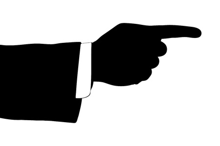 A silhouette of a male hand pointing his finger against white background photo